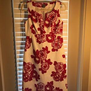 Pomegranate & White Floral Dress